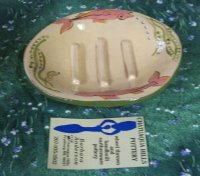 Pottery Soap Dish, Light Brown with Fish Design SOLD