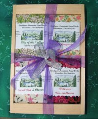 Floral Four Bar Gift Box in Wooden Crate