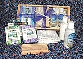 Soap (4). Lotion (2),  Soap Tray, and Washcloth Gift Box