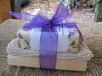 Lavender Soap, Tray, and Natural Fiber Washcloth