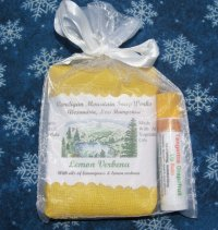 Small Gift Bag with Lemon Verbena Soap and  Tangerine Grapefruit Lip Balm