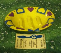 Pottery Soap Dish Yellow  with Hearts